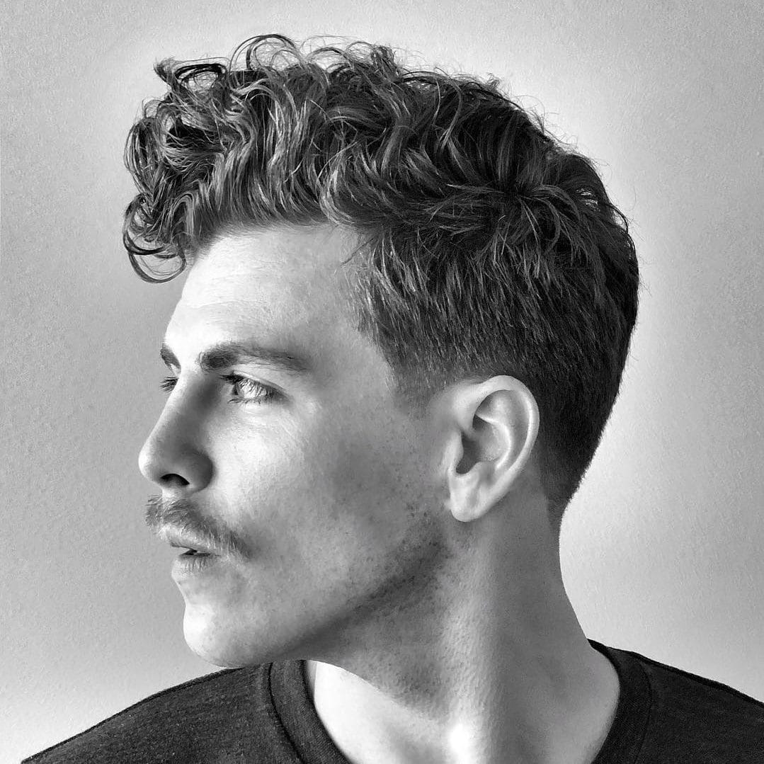Hairstyle for curly hair men