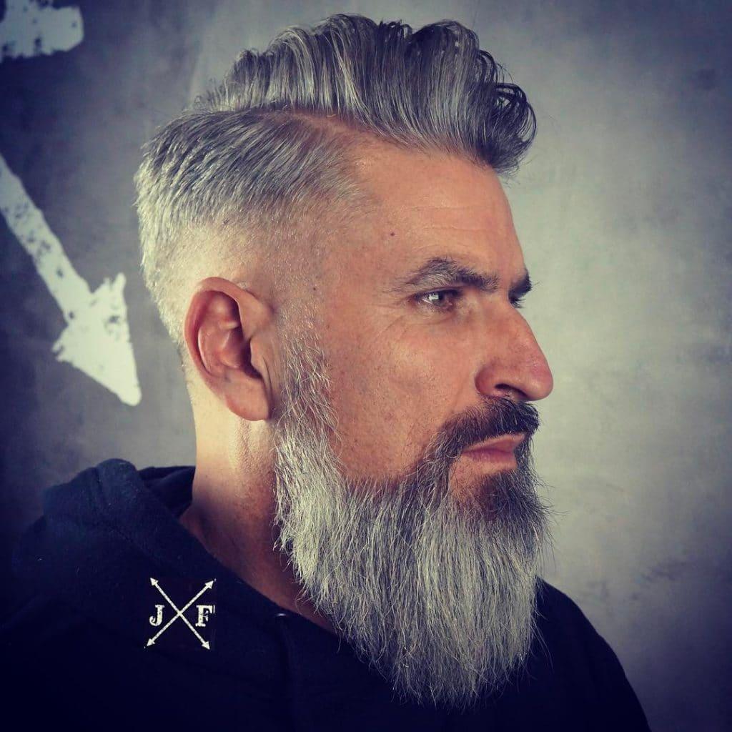 Side part haircut for older men