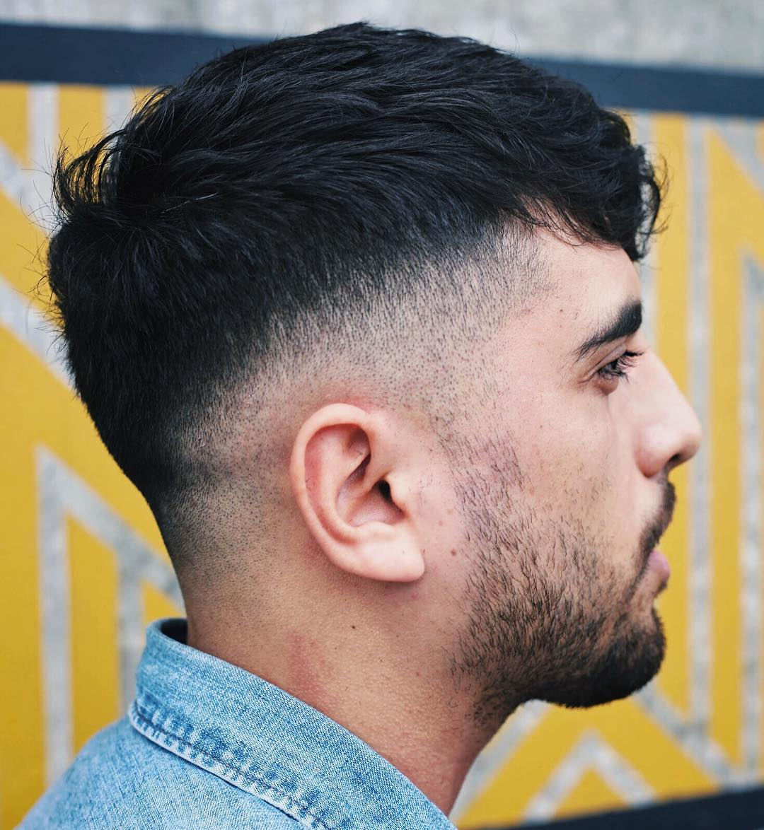 Heavy thick hair crop fade haircut for men