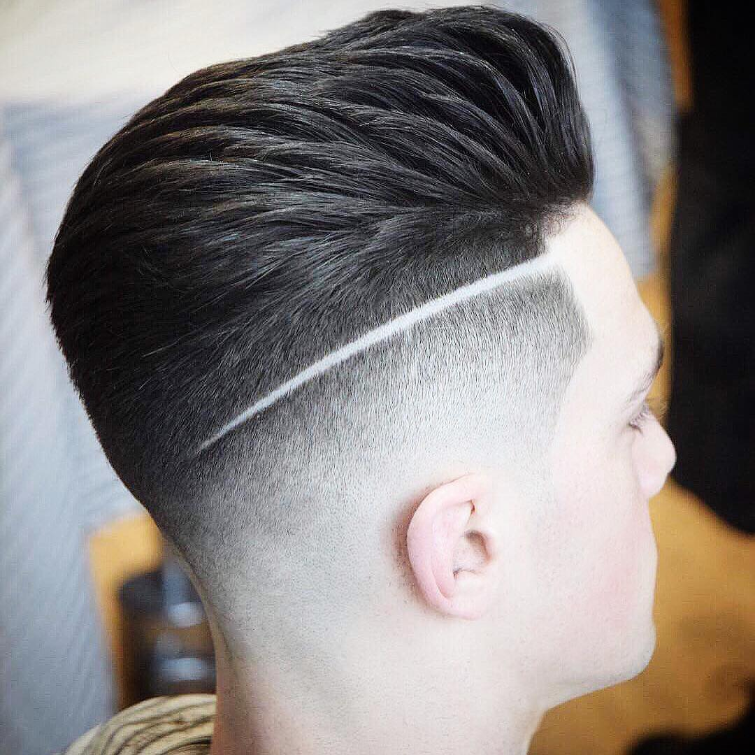 Medium length hair and fade