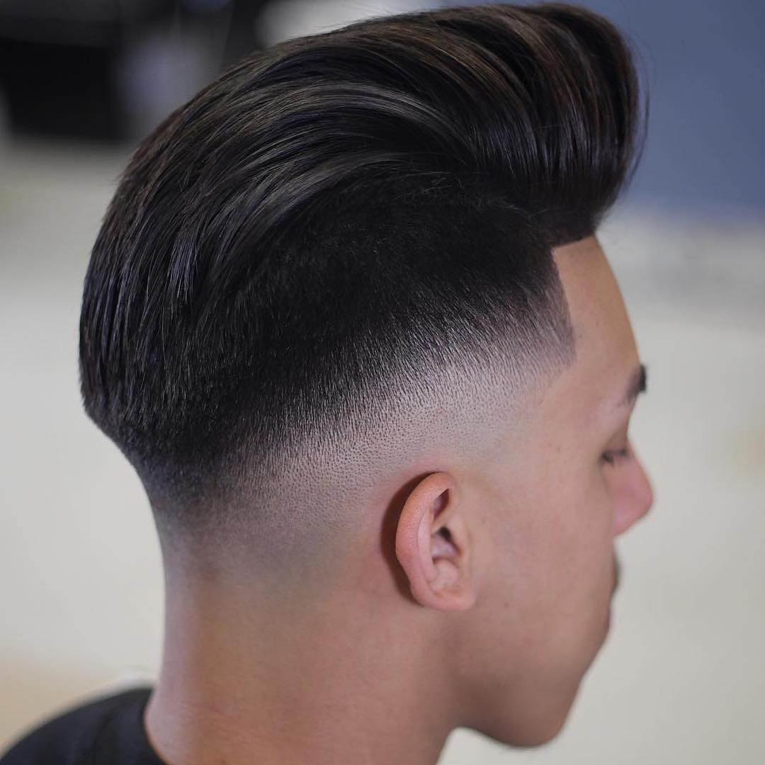 Pomp fade hairstyles for Asian men
