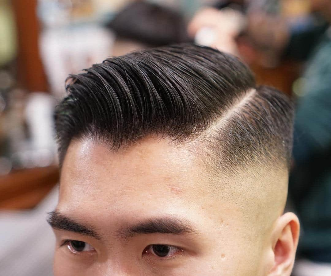 Asian men's hairstyle side part