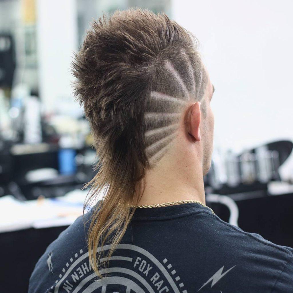 Burst fade mohawk mullet haircut