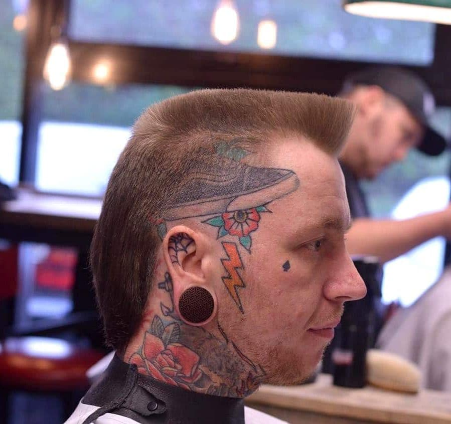 Classic flat top haircut with mullet
