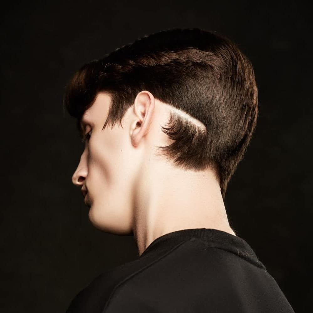 Tapered Hairstyle With Slash Line