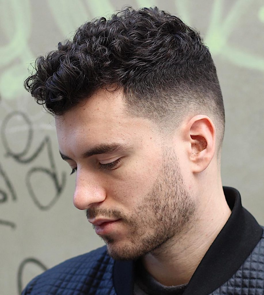 short curly fade haircuts for men