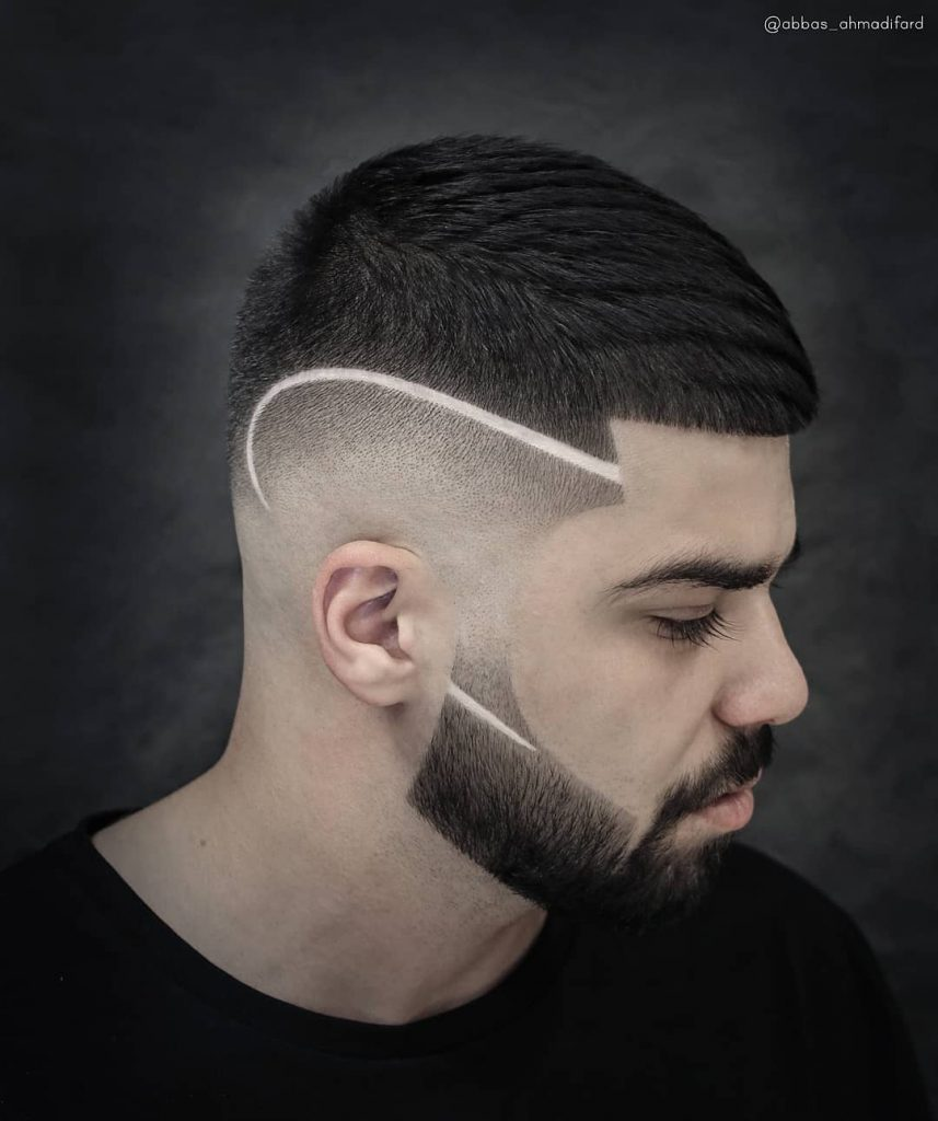 line haircuts for men with beards