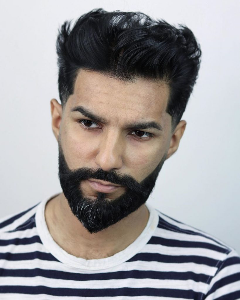 temple fade haircut with beard