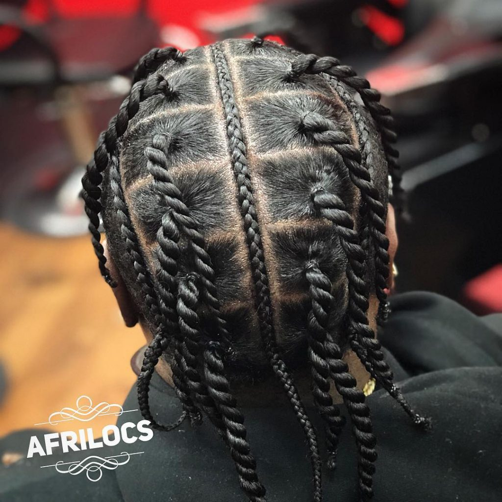 twisted box braid styles for men