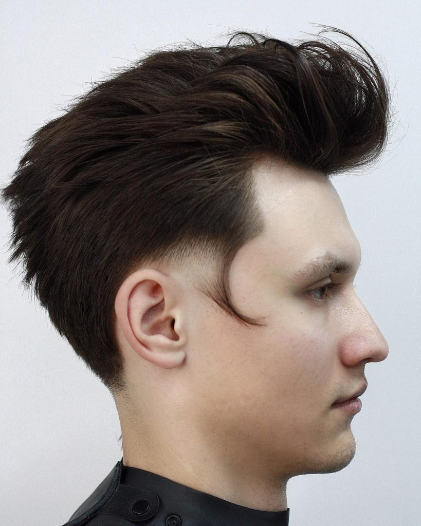 modern pompadour with temple fade