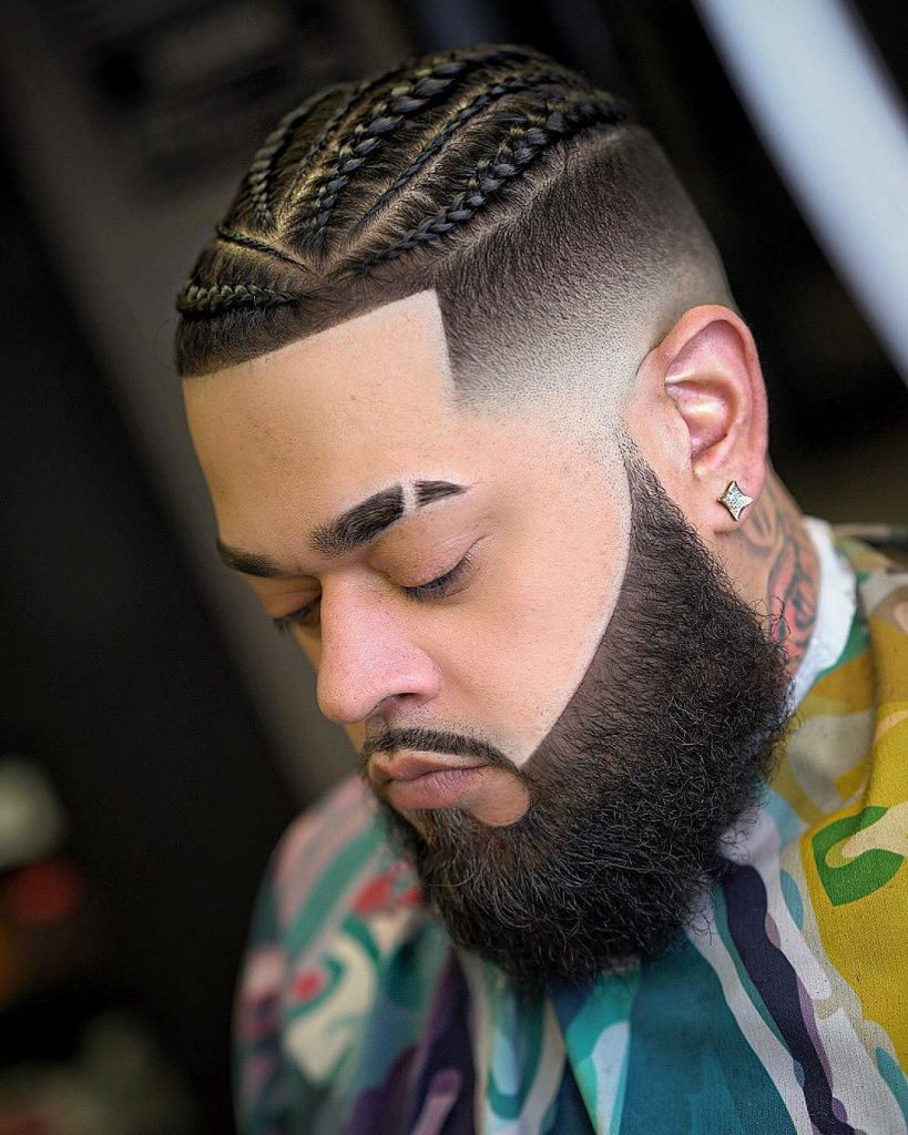 cornrows braids for men with fade and line up