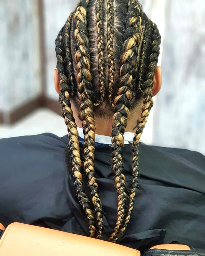 long cornrow braid styles for men