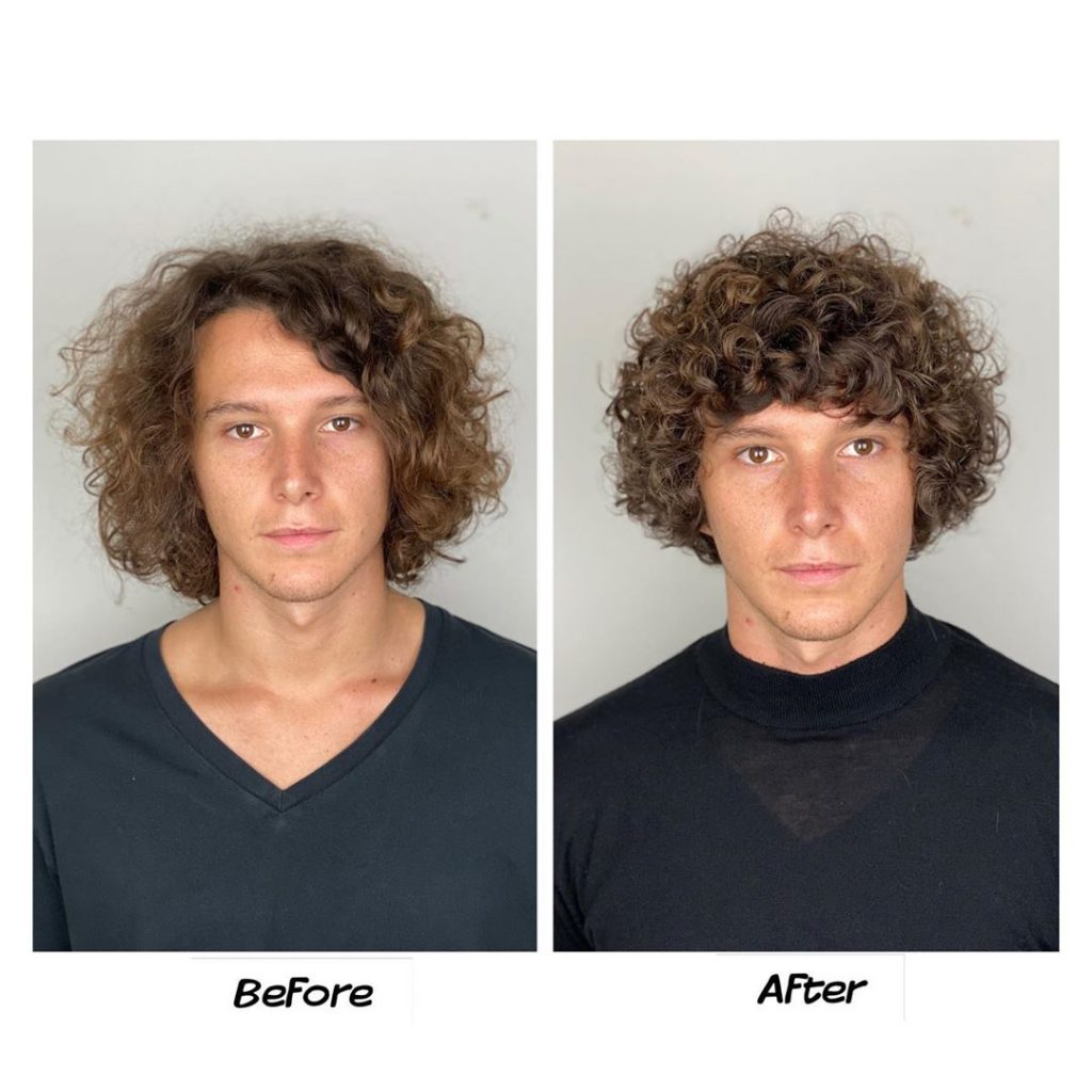 Medium length curly hair men
