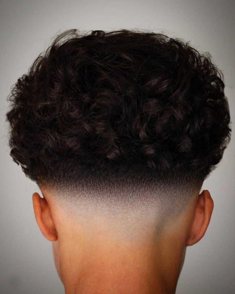 medium curly hair fade