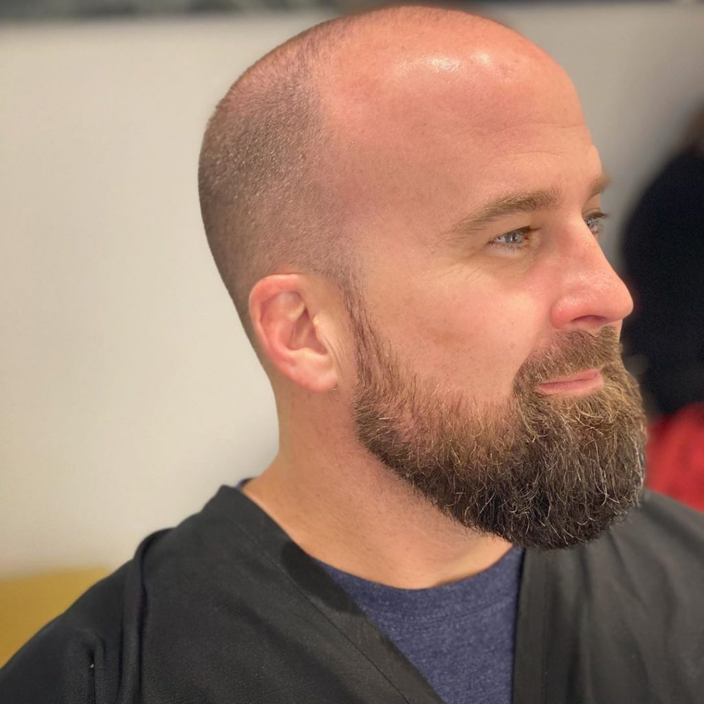 buzz cut for balding men with beard
