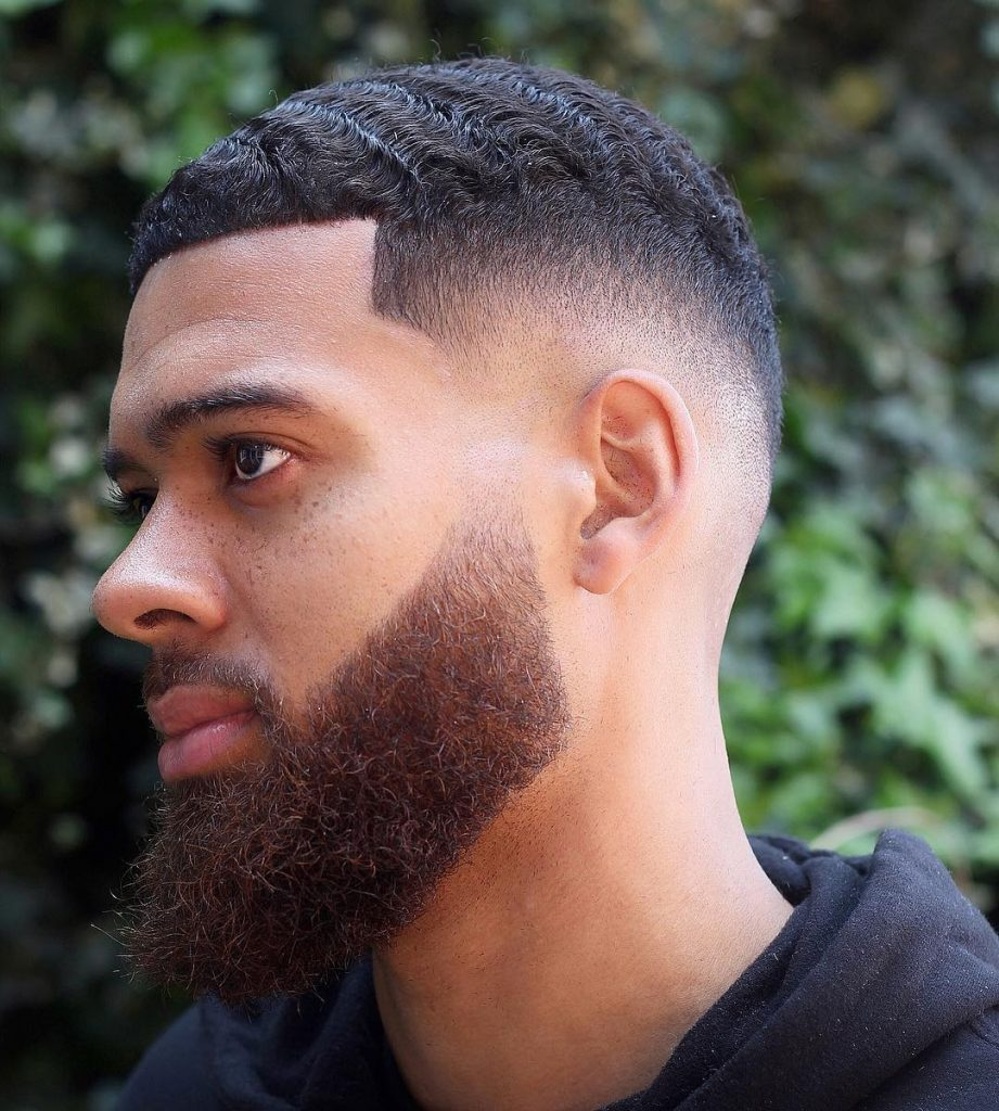 Drop fade haircut with 360 waves