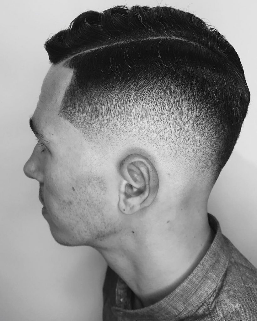 Drop fade comb over haircut