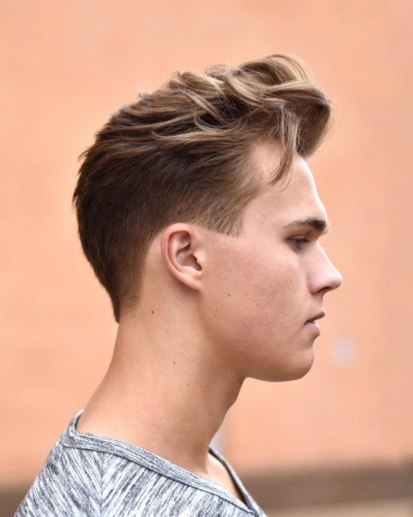 long flow on top, short sides hairstyle