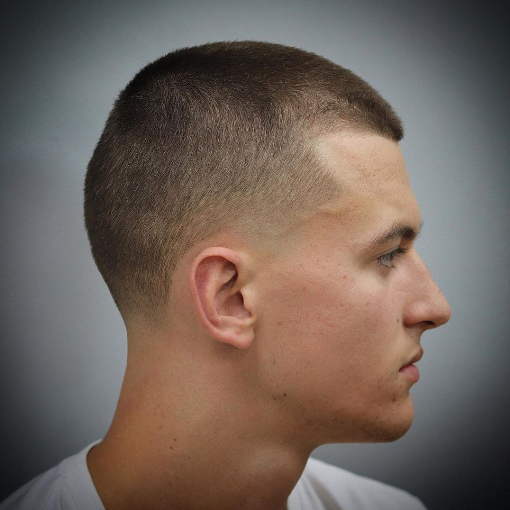 Short haircut with taper fade