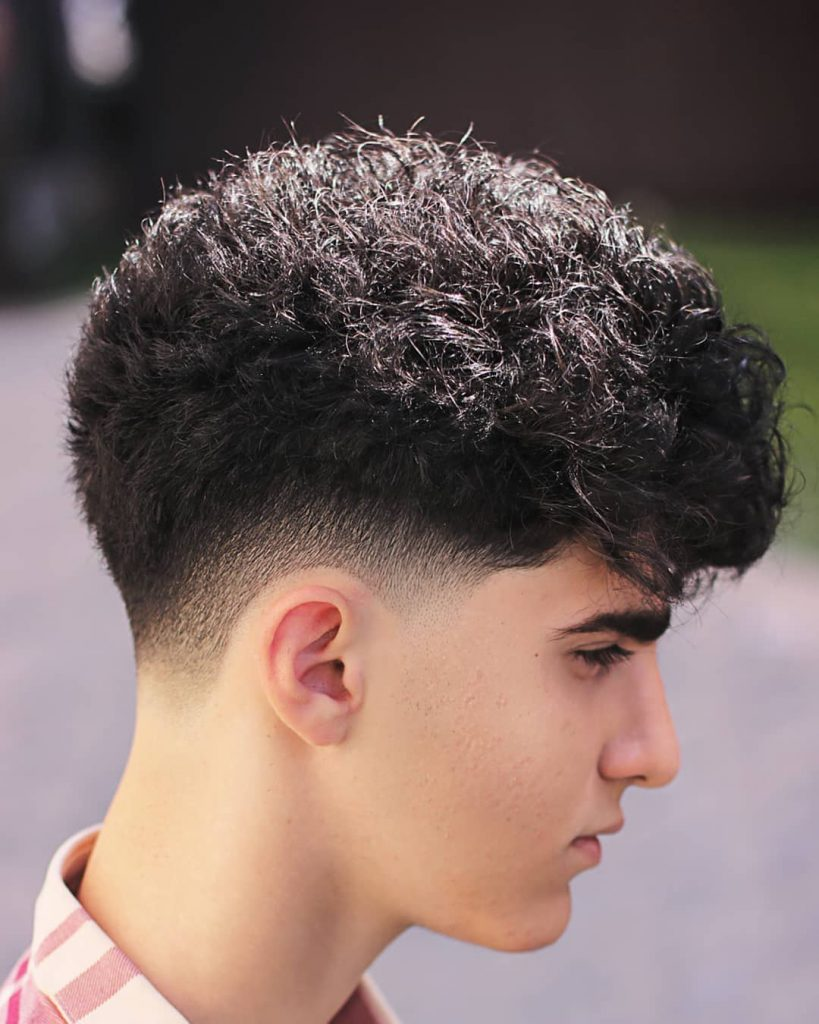Curly hair with drop fade