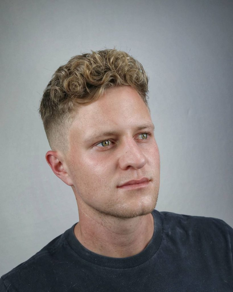 mid fade curly hair