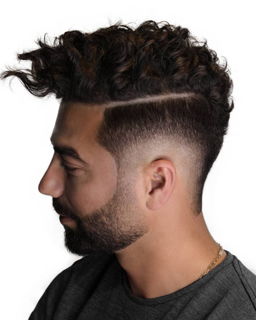 Curly hair drop fade haircut