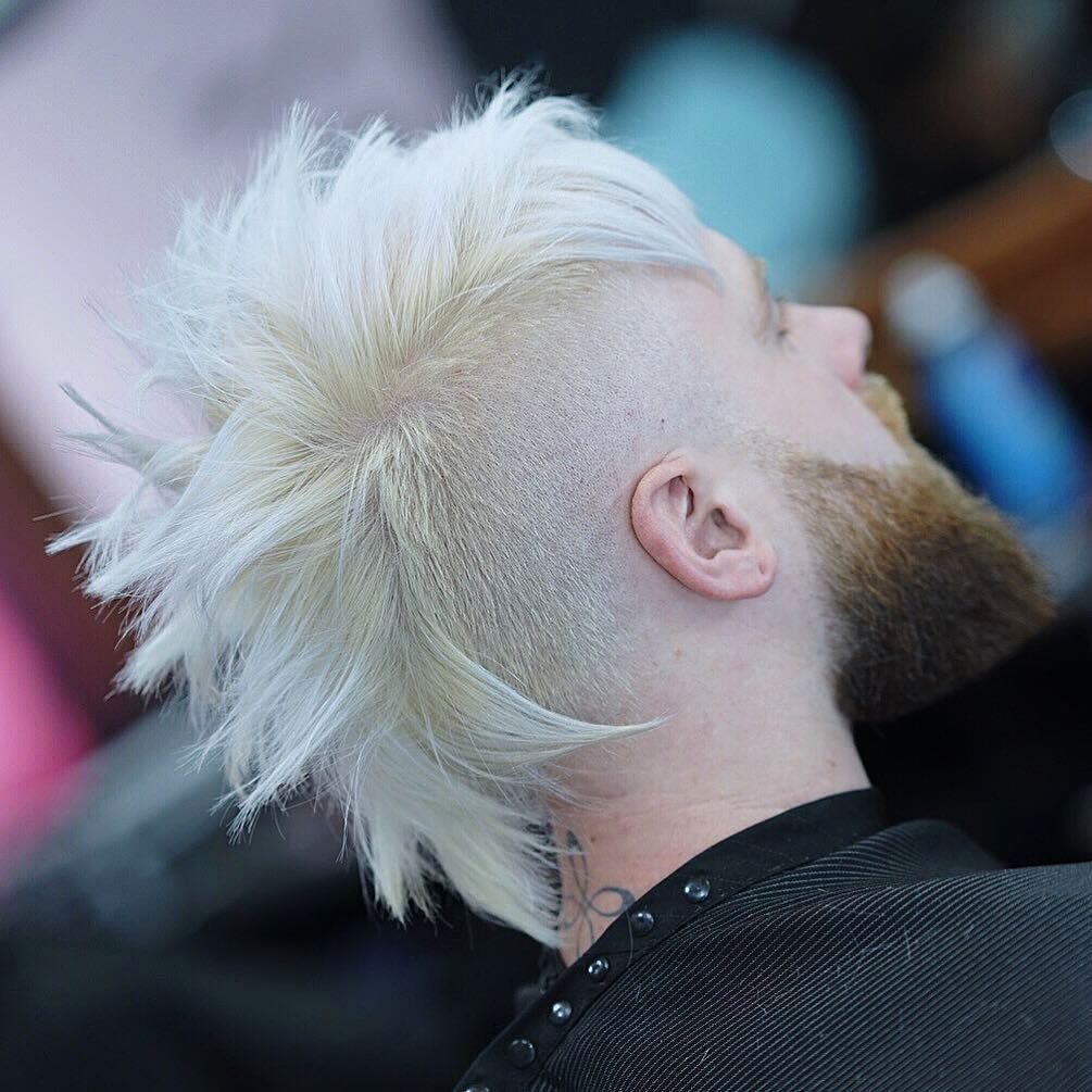 blonde mohawk fade haircut