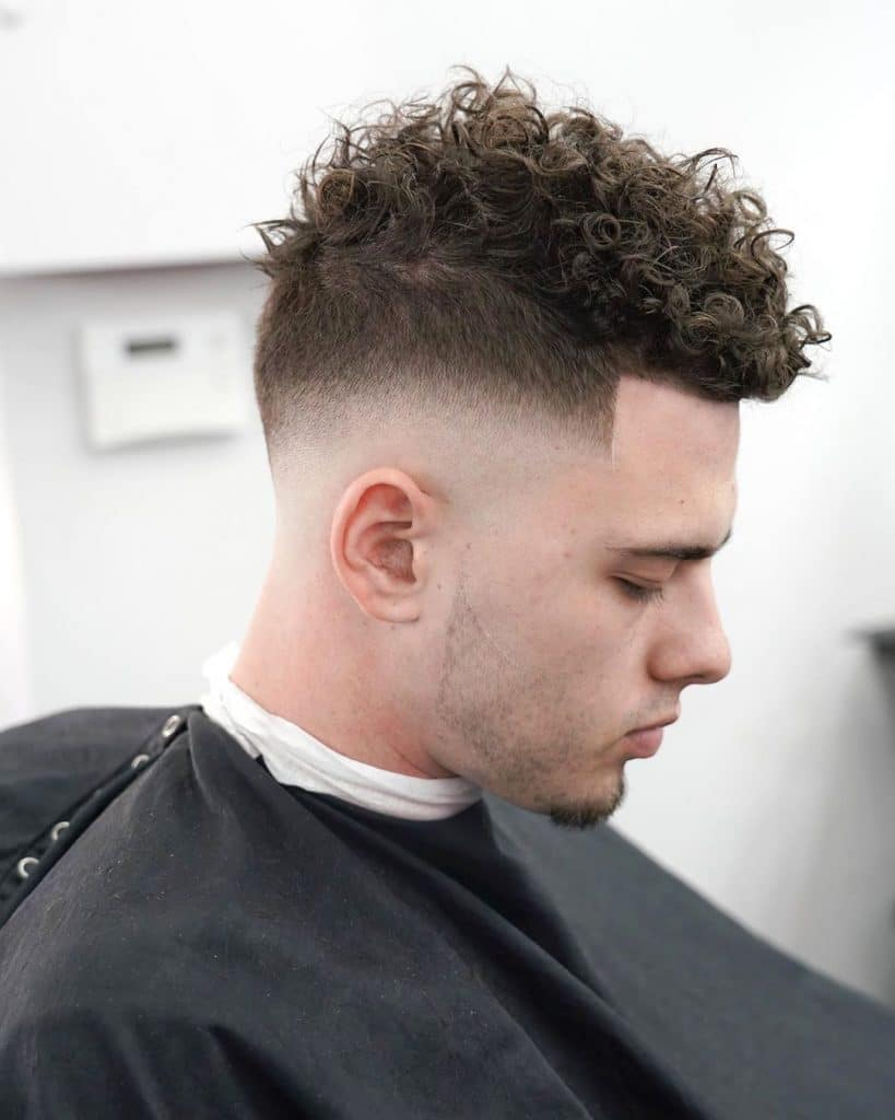 classic skin fade short curly hair