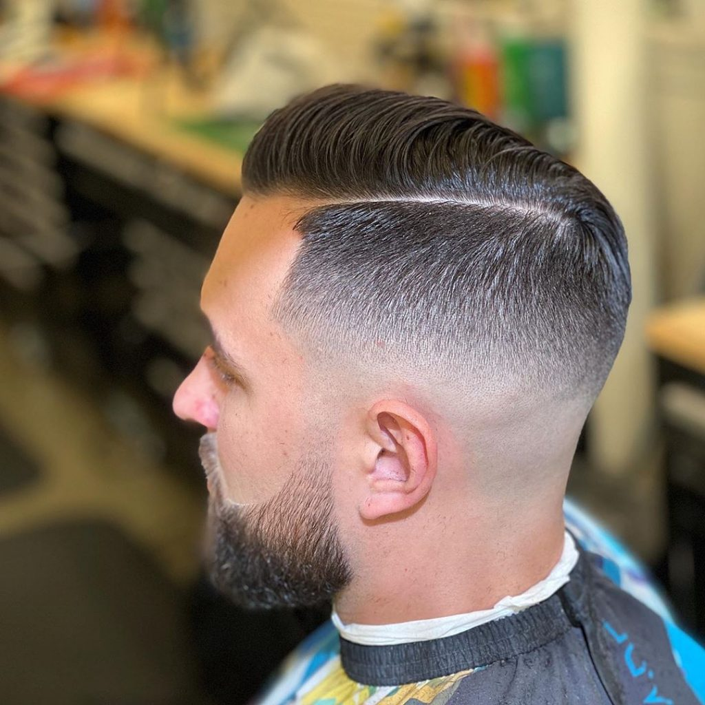 mid fade haircut comb over