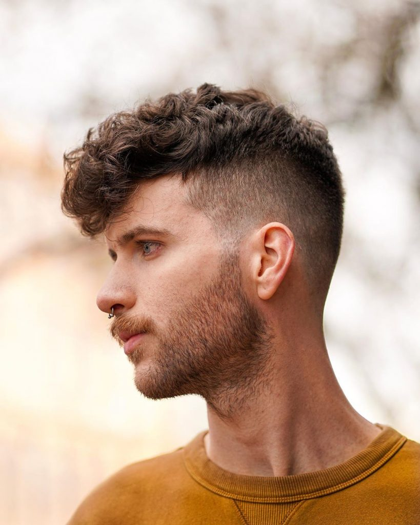 shadow fade and medium curly hair