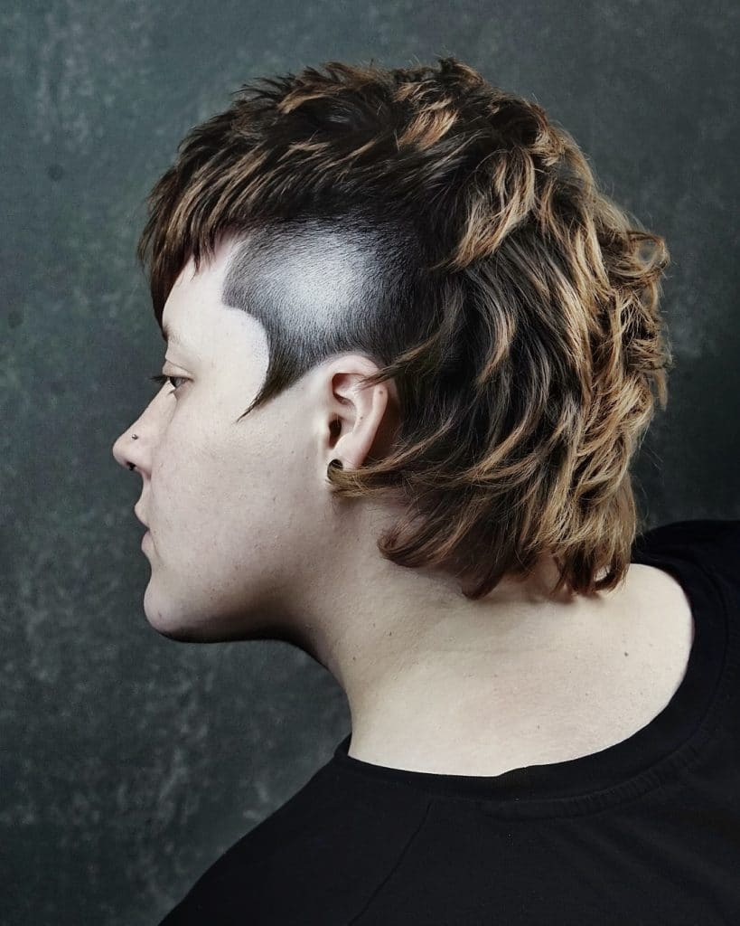 Temp fade mullet for wavy hair