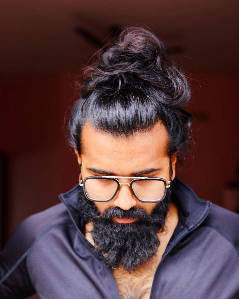 Man bun with beard