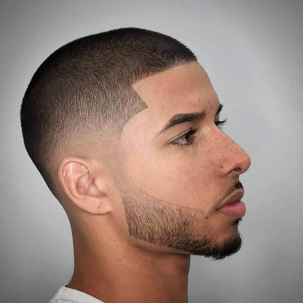 Buzz cut with beard fade