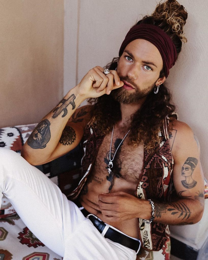Hippy man bun