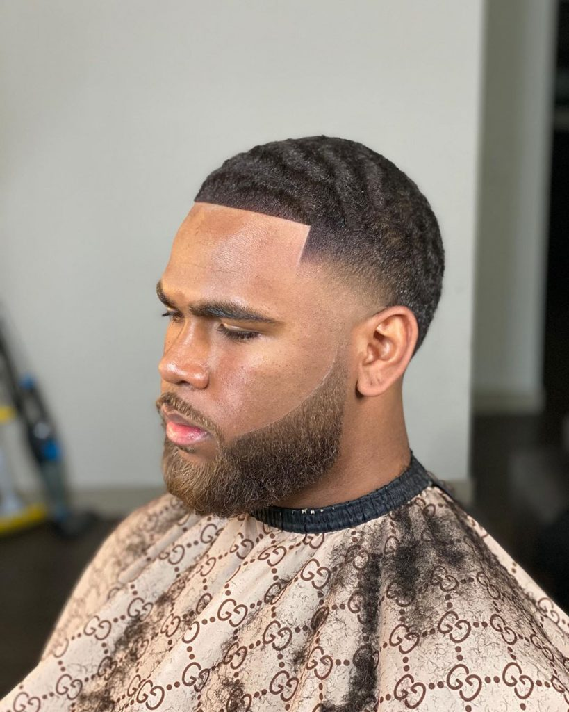 Waves haircut with beard