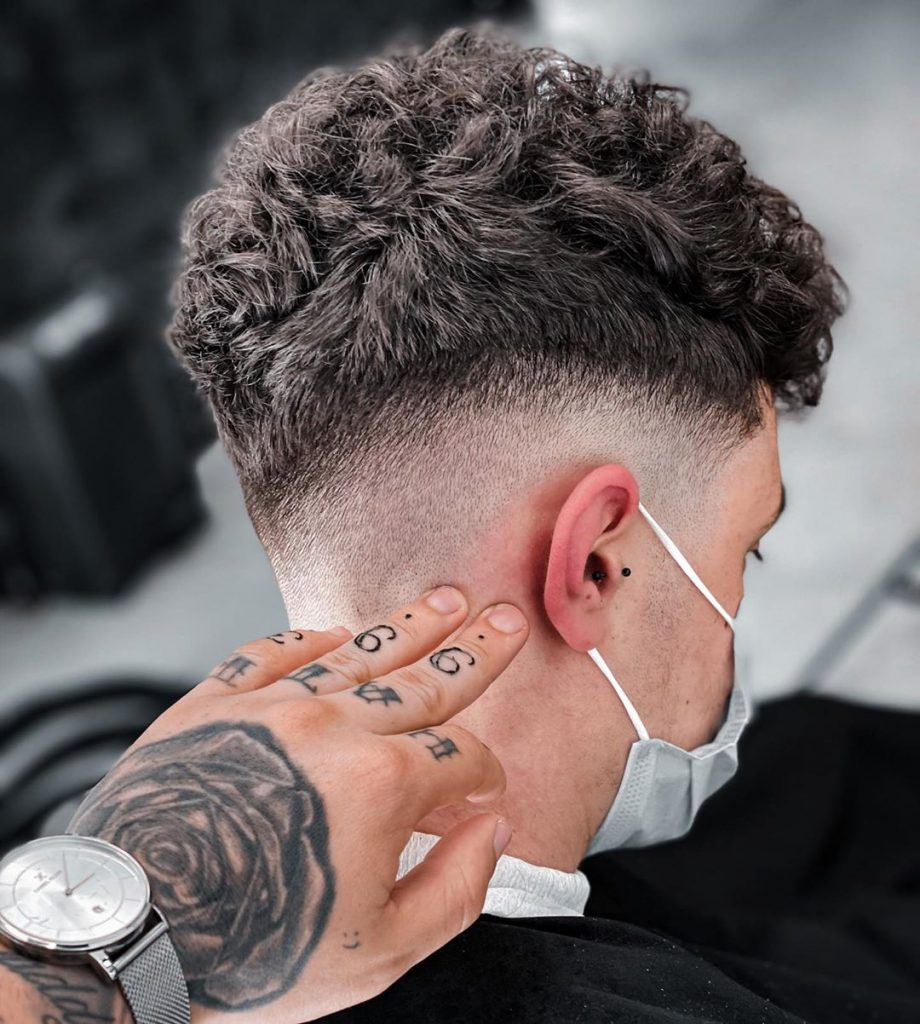 Curly drop fade haircut
