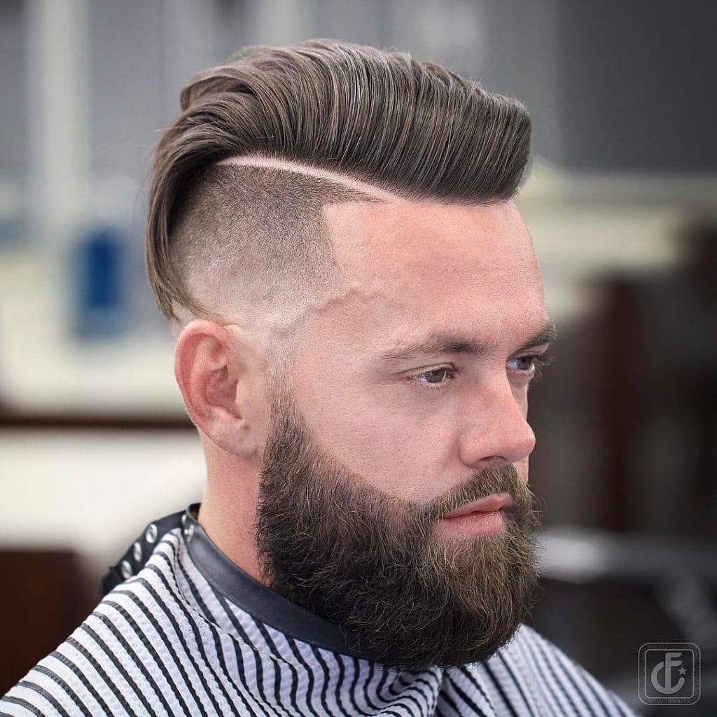 Comb over fade haircut with beard
