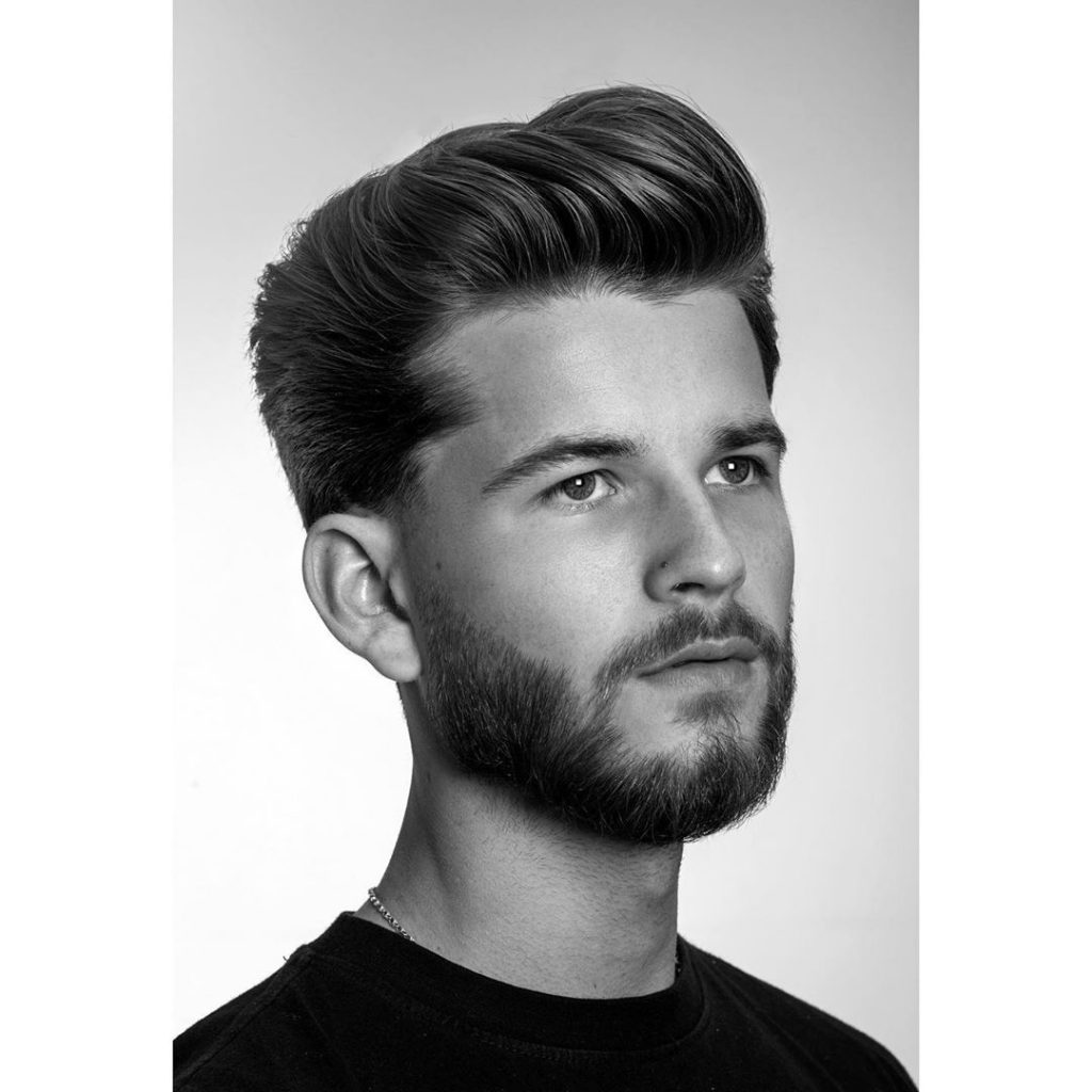 Pompadour hairstyle for thick hair men