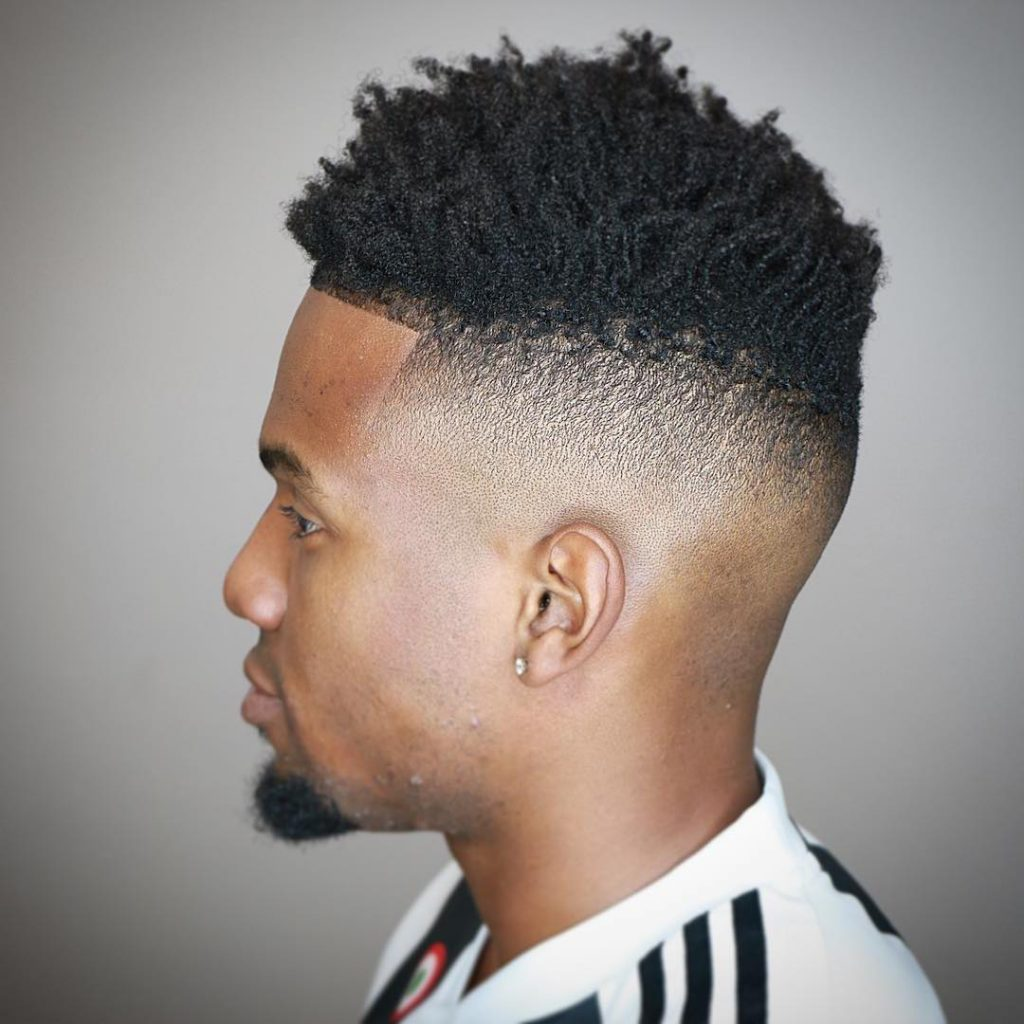 Black short faded hairstyles - twists with high skin fade