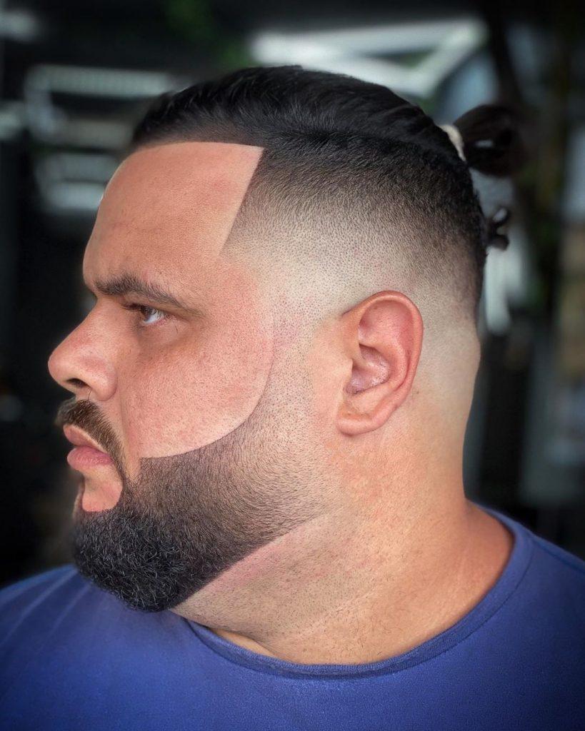High fade haircut with beard