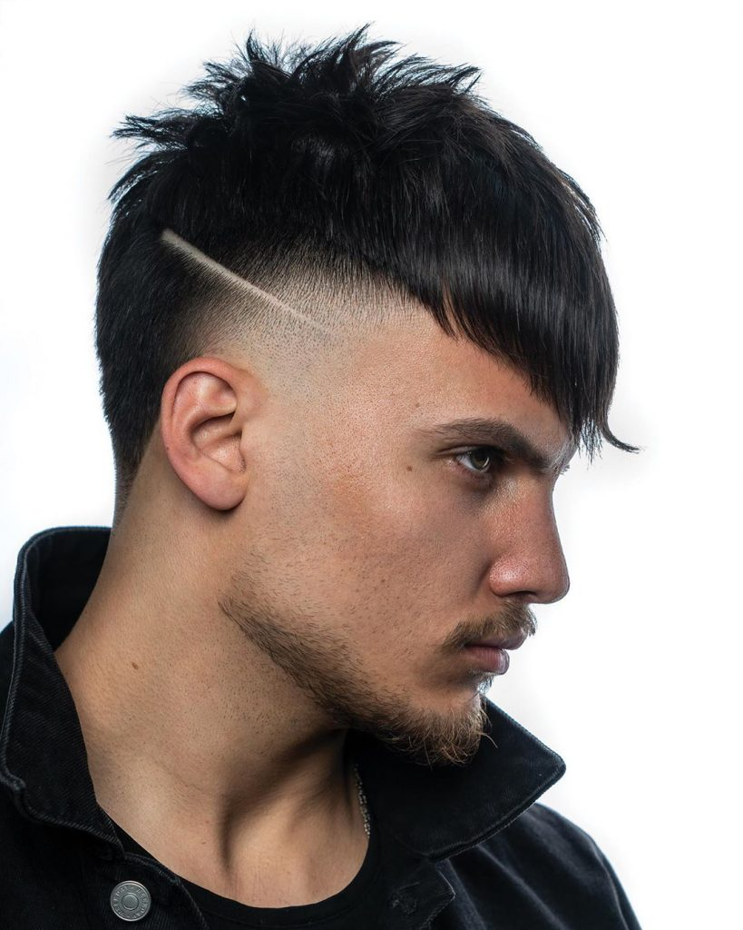 Temple fade with hair design