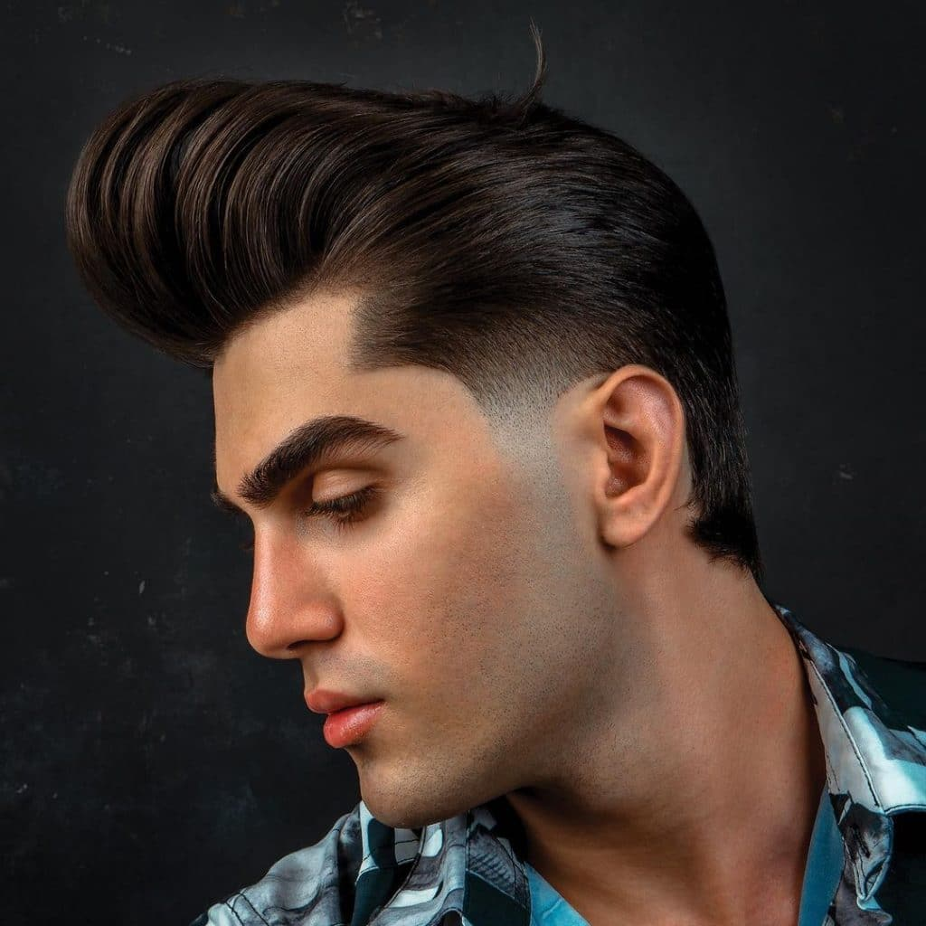 Pompadour with temp fade white guy