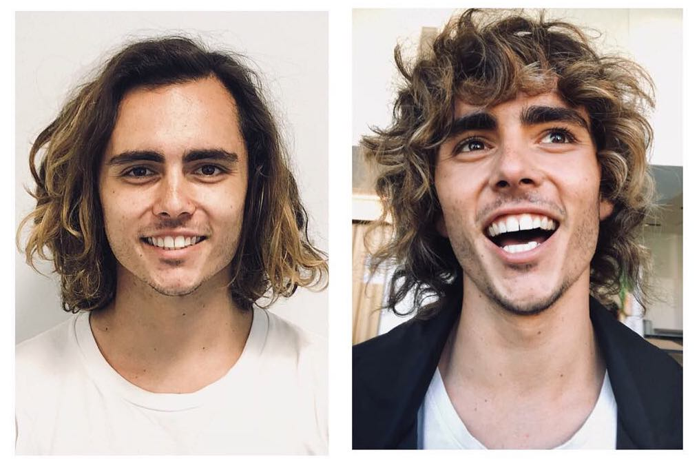 Curly haircut for men with bangs
