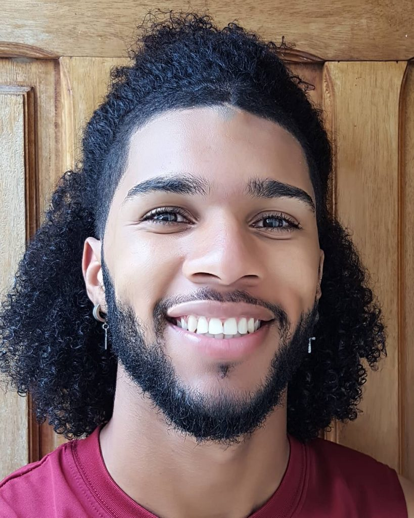 Half Up Hairstyle For Long Curly Hair Black Men