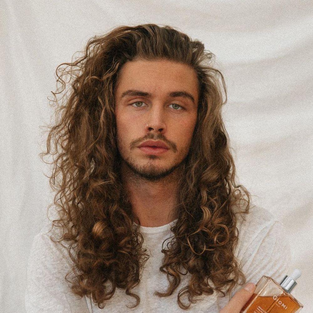 Very long curly hair men