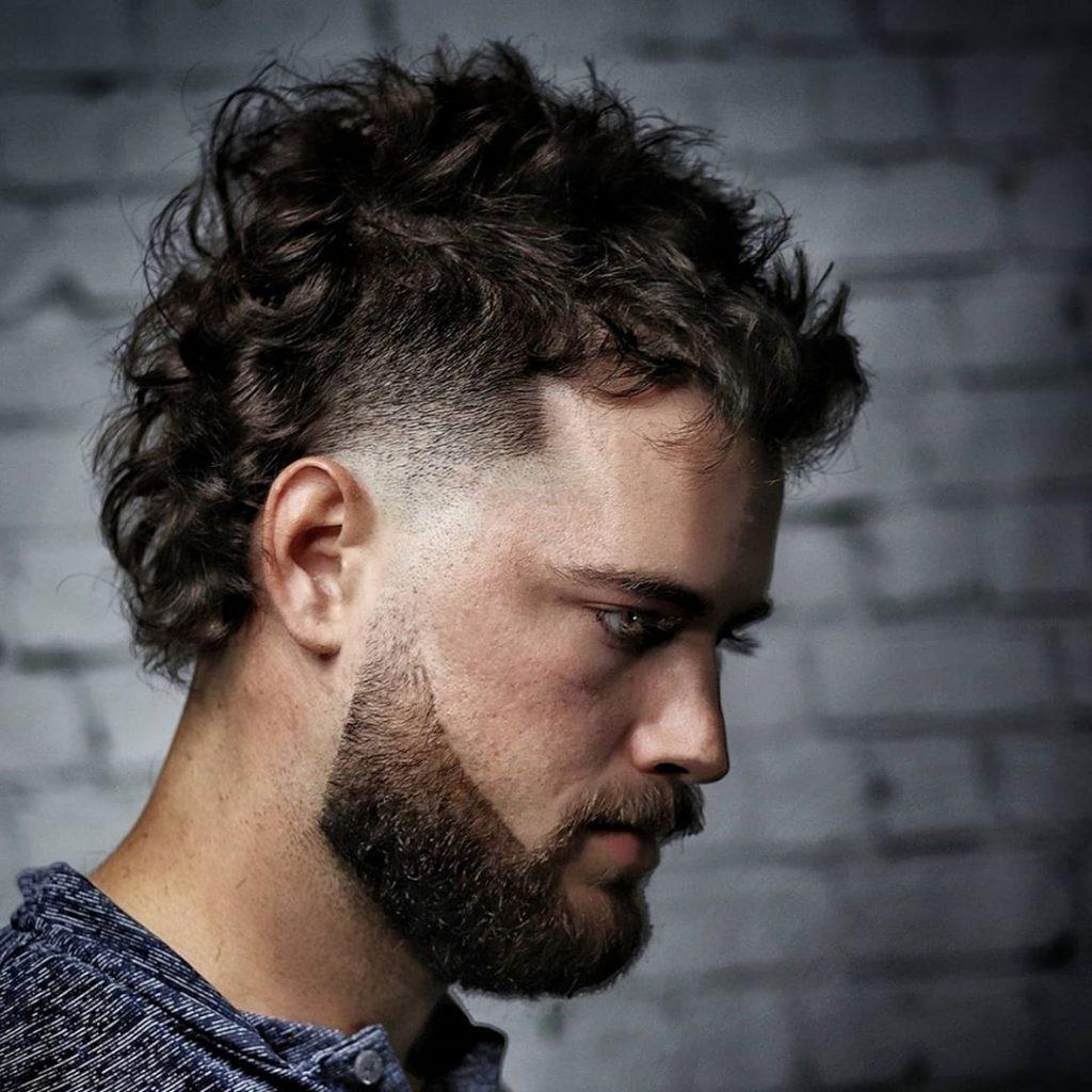 Temp fade curly mohawk mullet