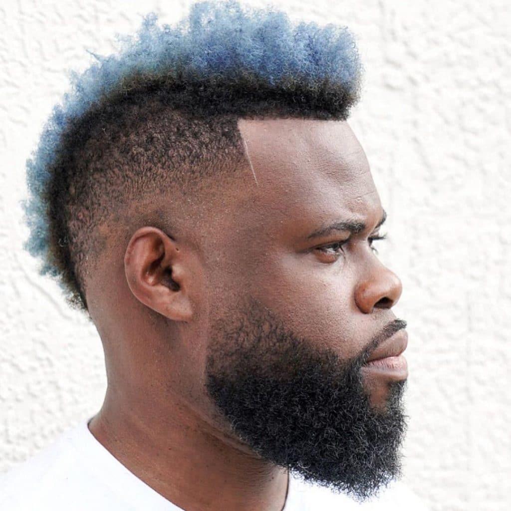 Burst fade mohawk for Black man with beard