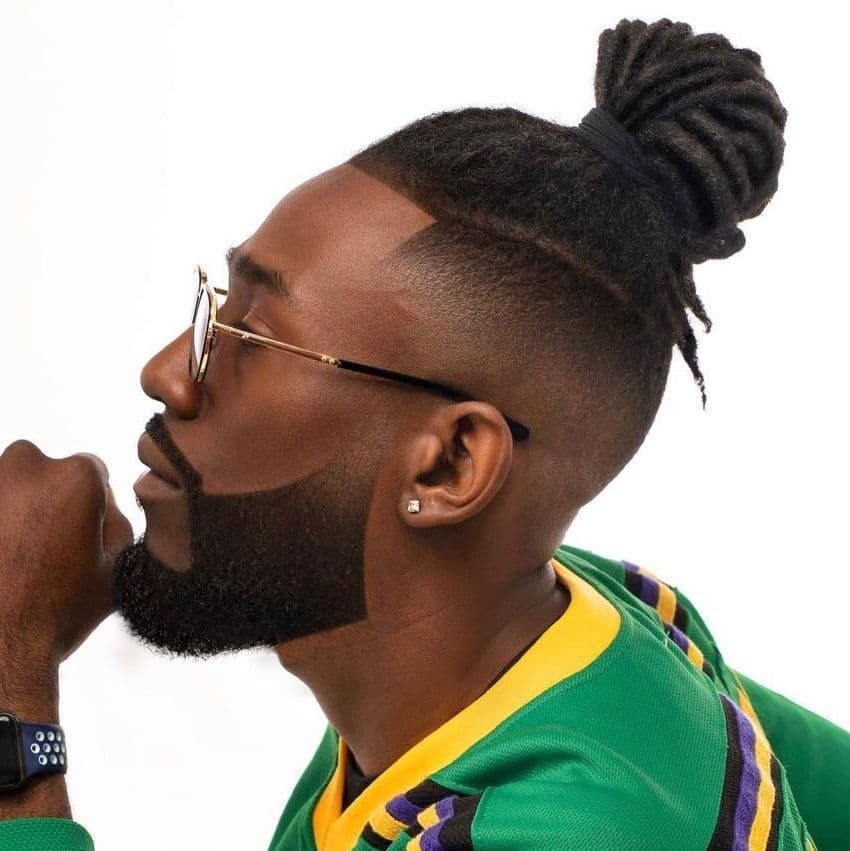 Fade haircut for Black men with long hair dreads