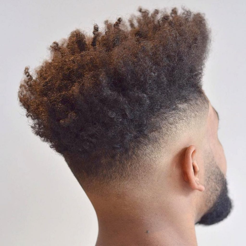 Curly high top fade for Black men