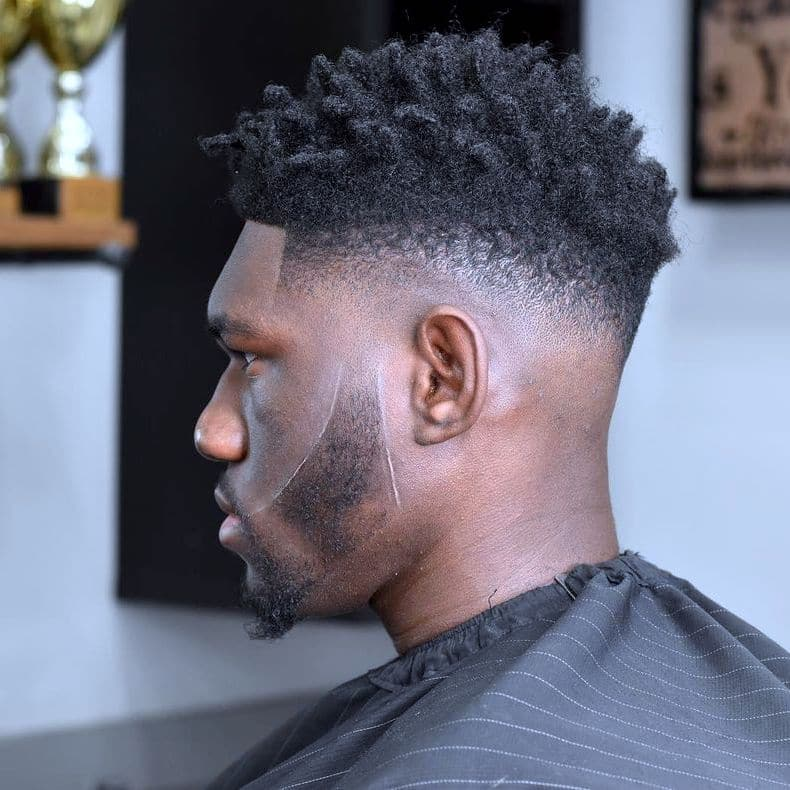 Mid fade haircuts for Black men with beard